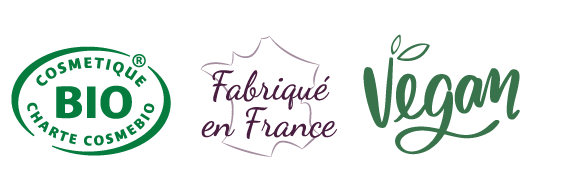 logo label cosmébio, frabriqué en France et Vegan